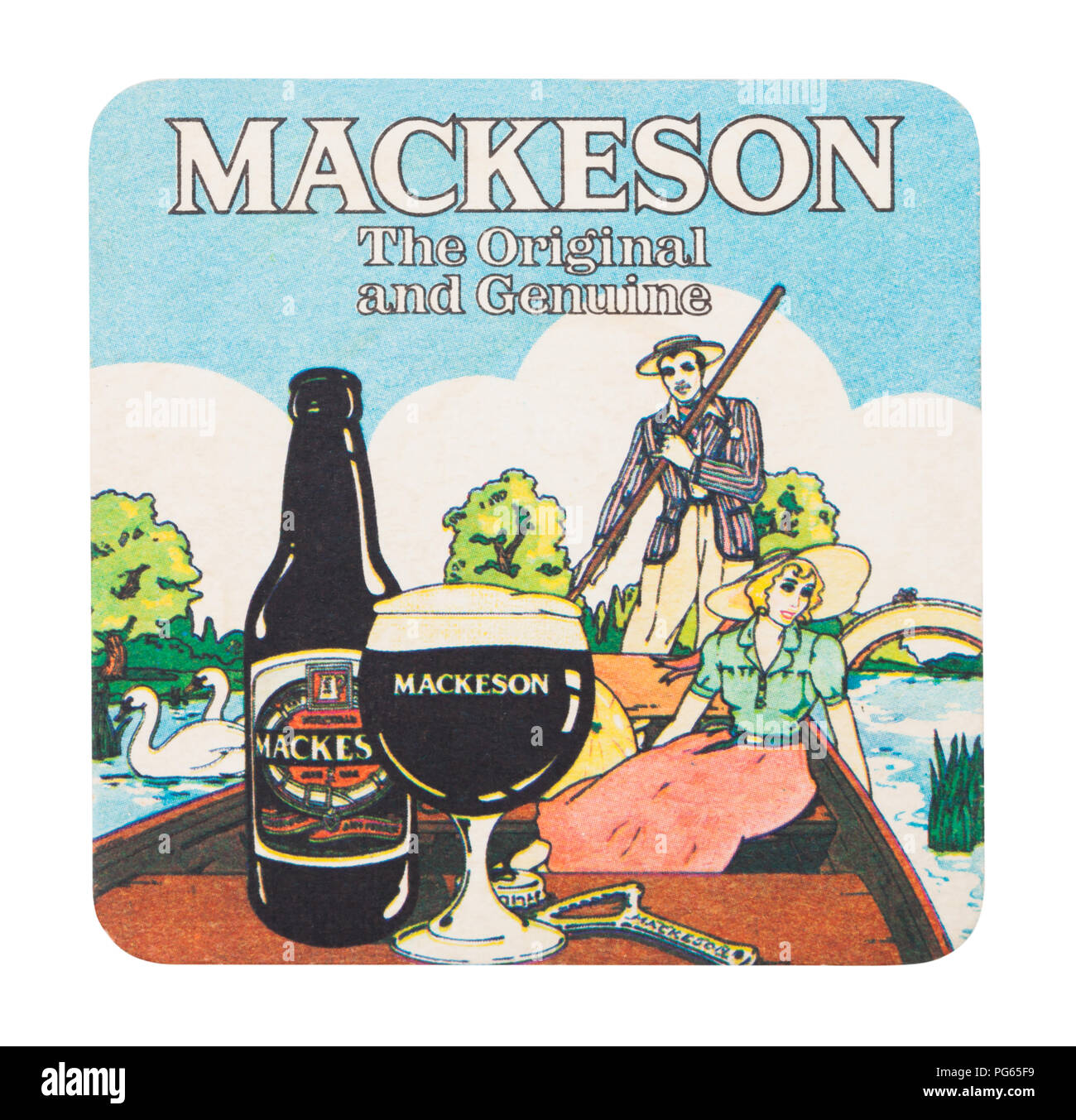 LONDON, UK - AUGUST 22, 2018: Mackeson vintage paper beer beermat coaster isolated on white background. - Stock Image