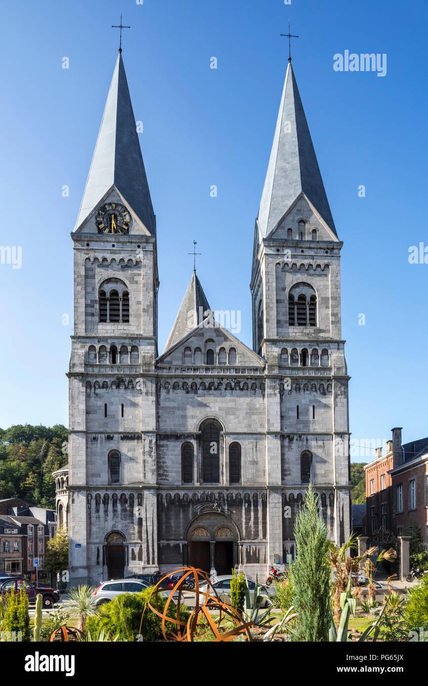 Neo-Romanesque Church of St Remacle / Eglise Notre-Dame et Saint Remacle de Spa in the city Spa, Liège, Belgium - Stock Image
