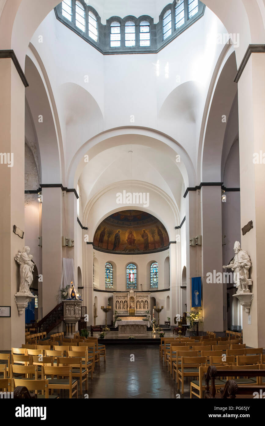 Interior of the Neo-Romanesque Church of St Remacle / Eglise Notre-Dame et Saint Remacle de Spa in the city Spa, Liège, Belgium - Stock Image