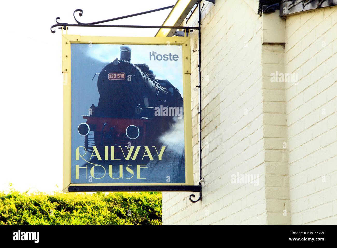 Railway House, hotel, Hoste Arms, Sign Board, Burnham Market, Norfolk, UK - Stock Image