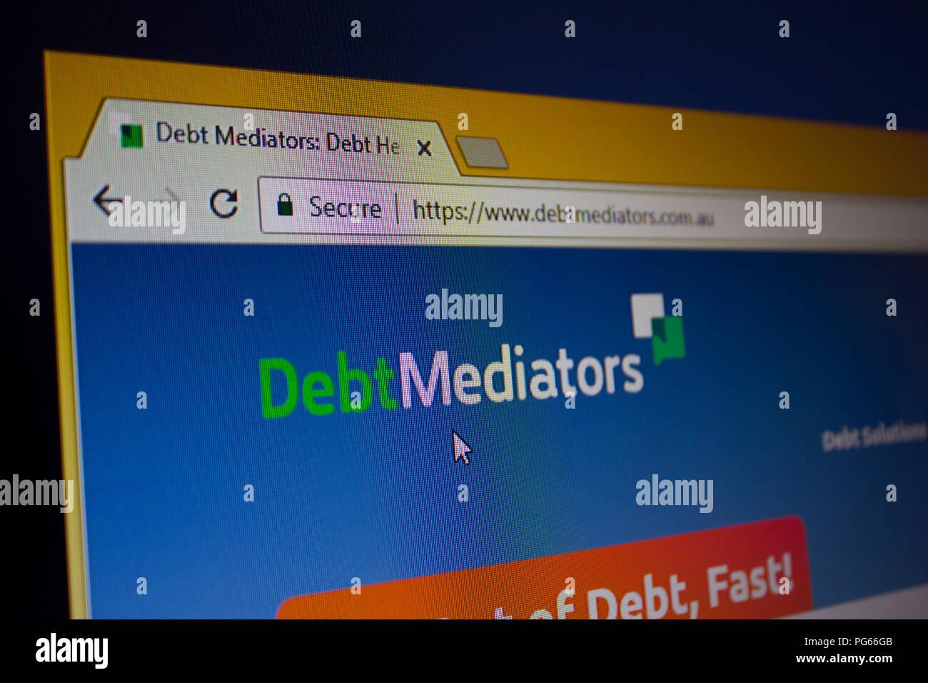 Debt Mediators Website homepage - Stock Image