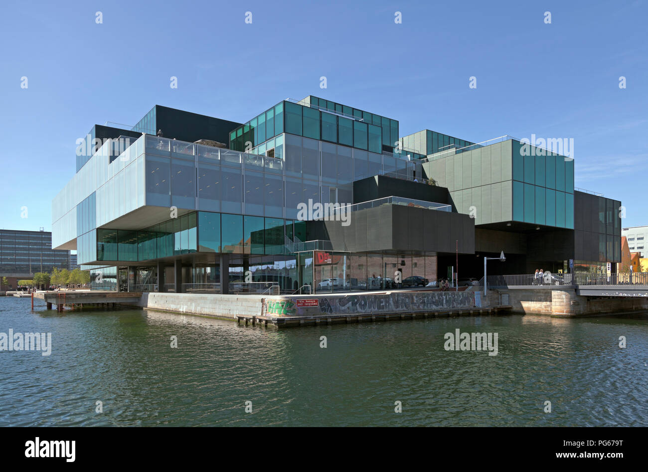 The BLOX building, a new prestige building for architecture and design etc.at the waterfront on Christians Brygge in Copenhagen at Frederiksholm Canal Stock Photo