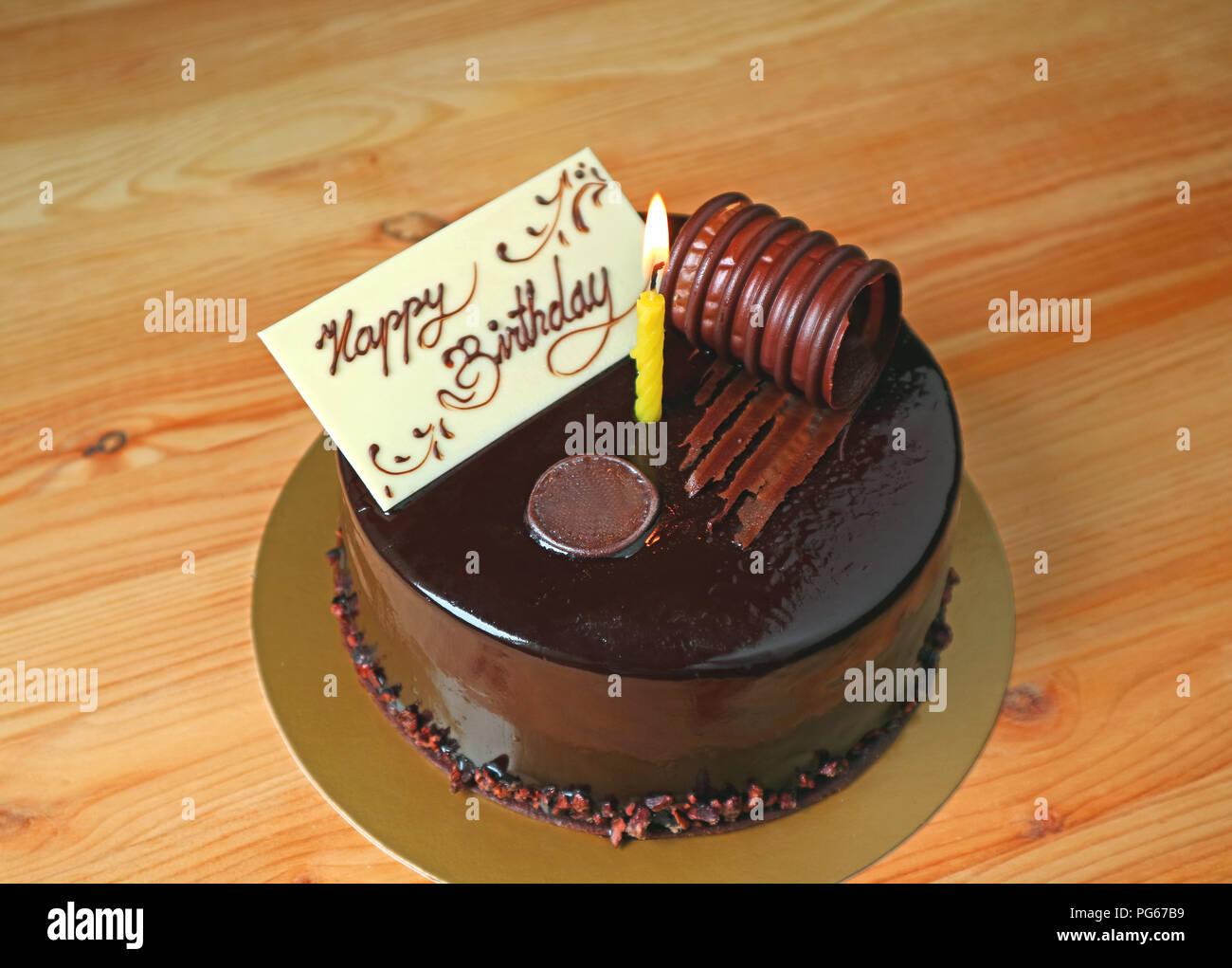 Sensational Chocolate Mousse Birthday Cake Topped With White Chocolate Birthday Cards Printable Giouspongecafe Filternl