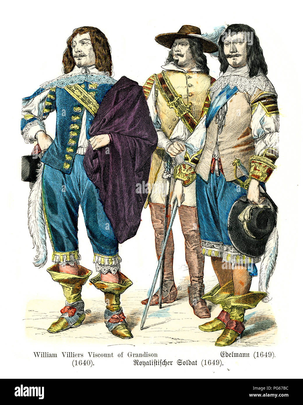 Fashion of  mid 17th Century England.  William Villiers, Viscount of Grandison, Roylist Soldier, Nobleman 1649 - Stock Image