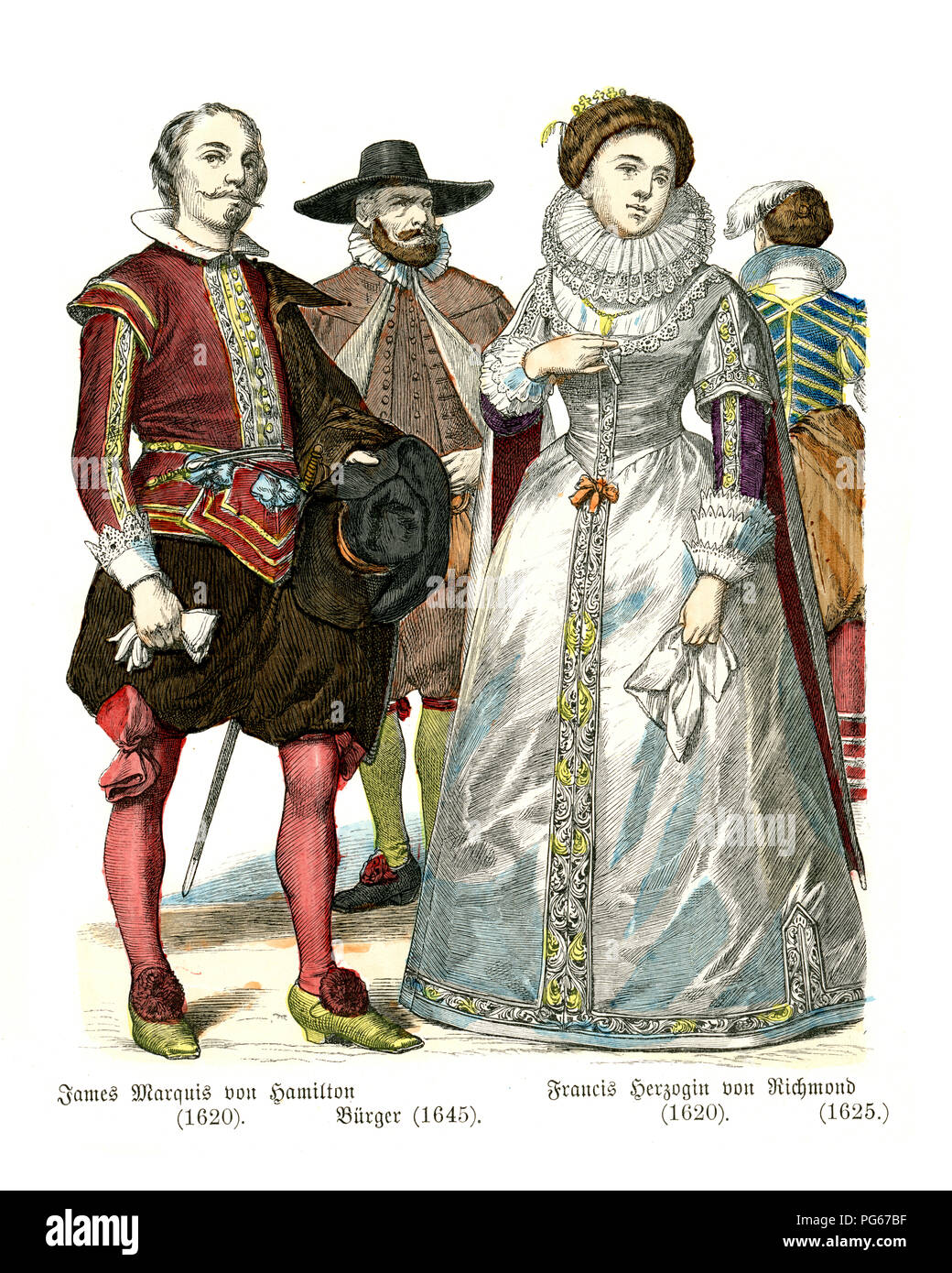 Fashion of  mid 17th Century England.  Marquis of Hamilton, Citizen, Duchess of Richmond - Stock Image