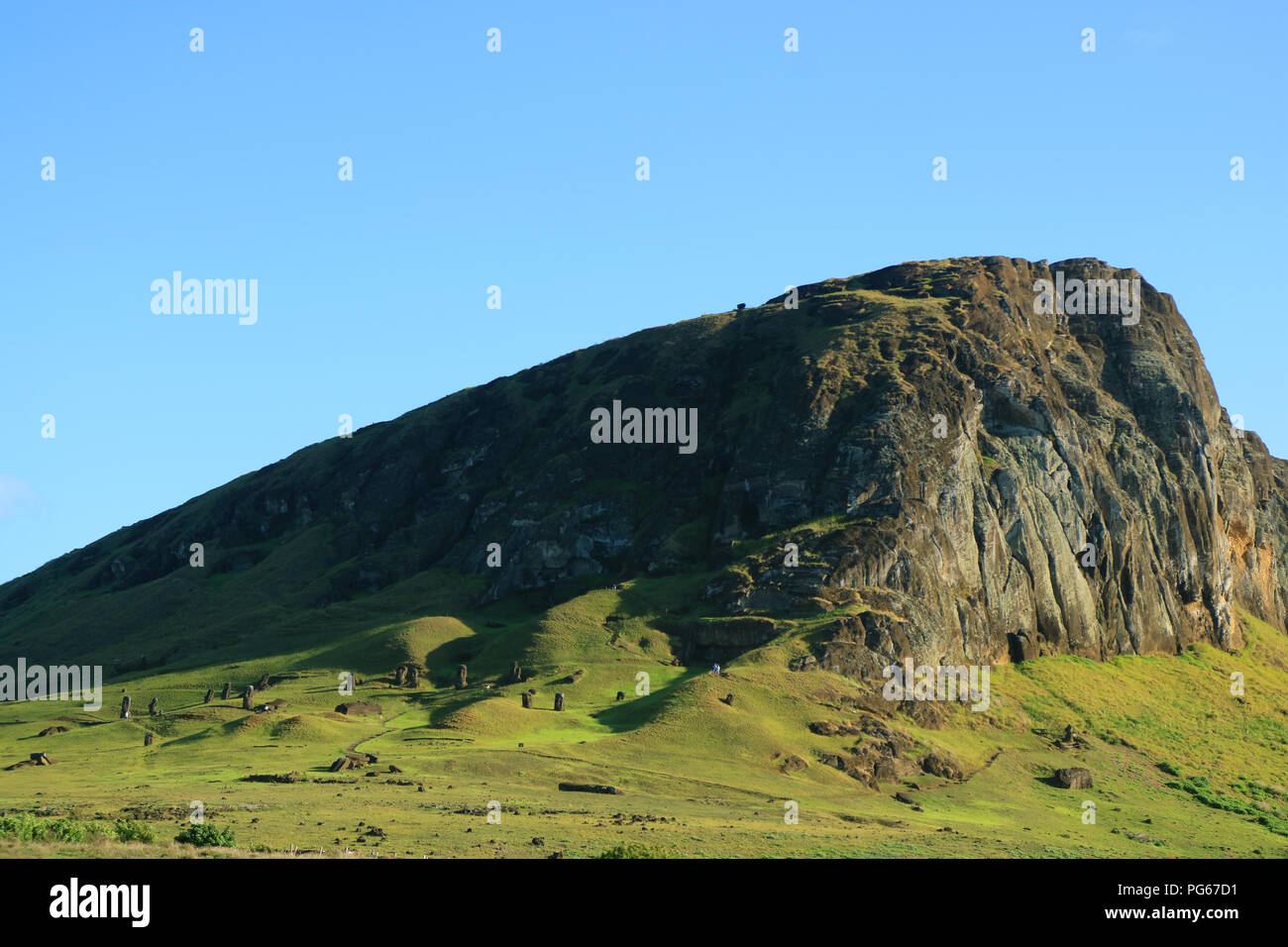 The Rano Raraku volcano, quarry of Moai statue in the ancient time of Easter Island, Archaeological site in Chile, South America - Stock Image