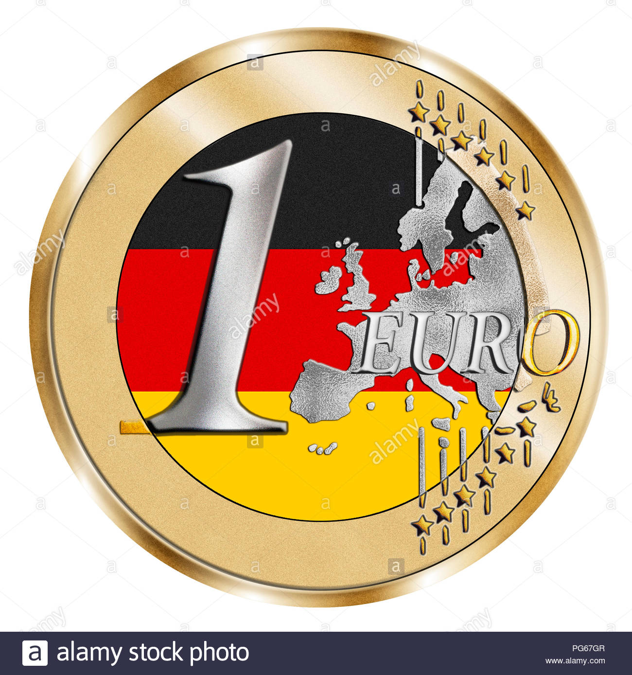 A montage of a stylised 1 Euro coin and a German national flag. A dark Photoshop composite emphasising Euro dominance. - Stock Image