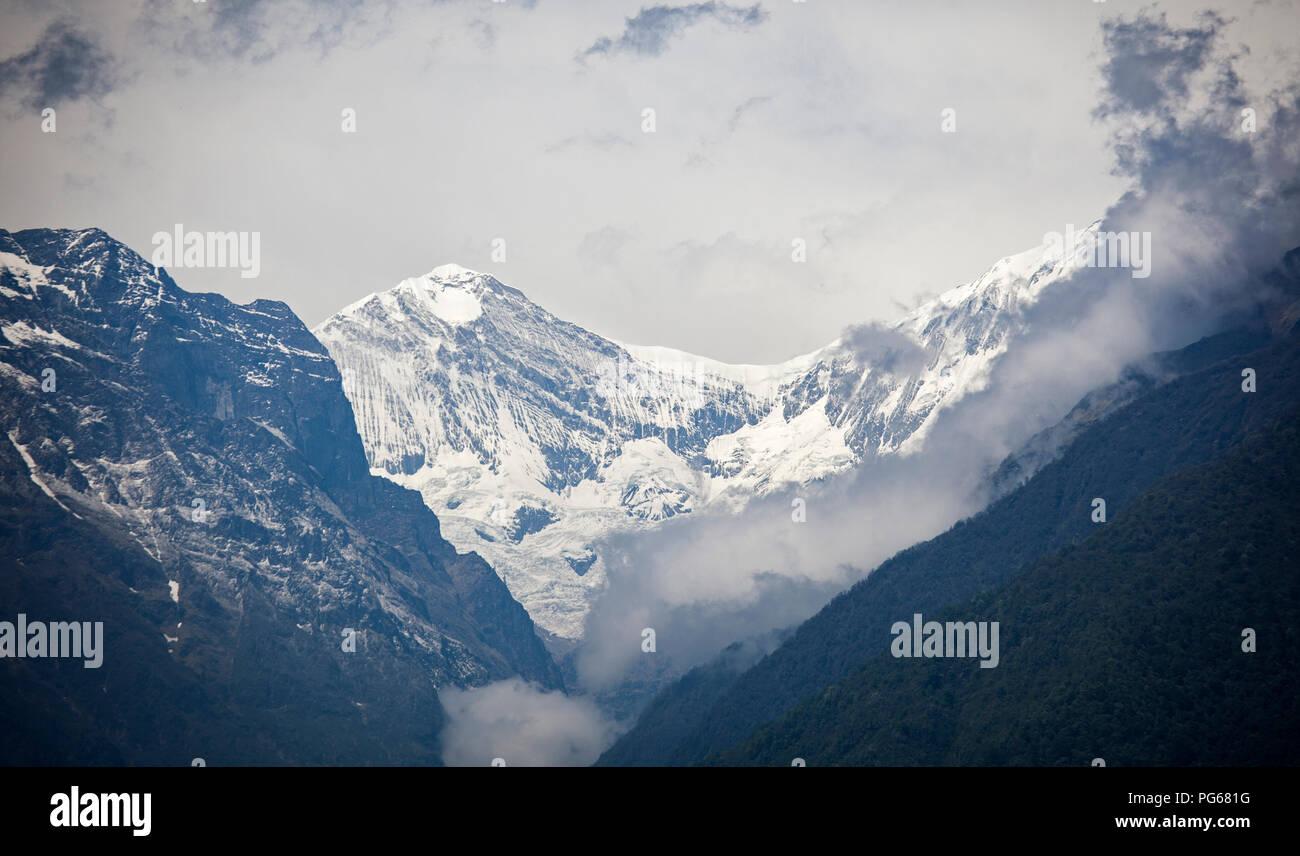 Annapurnas range from Ghandruk. Annapurna trek. Nepal - Stock Image