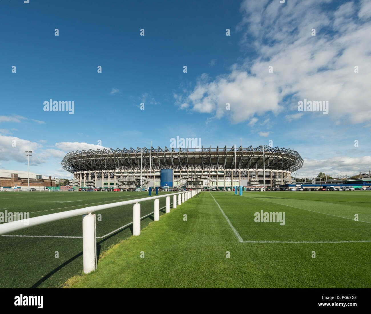 Murrayfield stadium is the home of the Scotland national rugby team in west Edinburgh, Scotland, UK - Stock Image