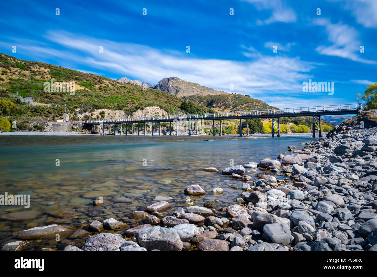 New Zealand, South Island, Canterbury Region, Arthur's Pass National Park, Waimakairi River, Mt. White Bridge - Stock Image