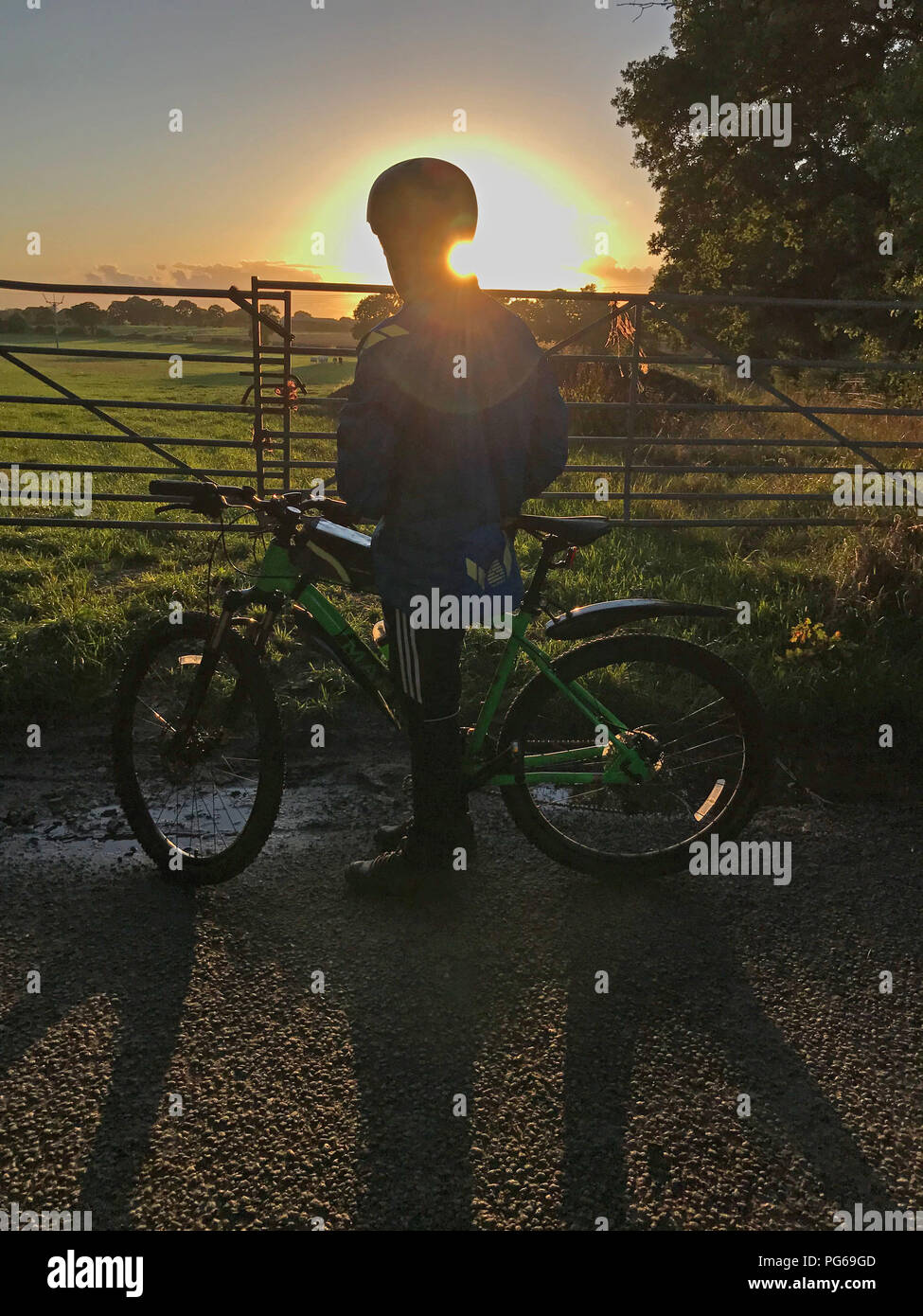 Sunset behind Youth on bicycle, in countryside, at dusk - Stock Image