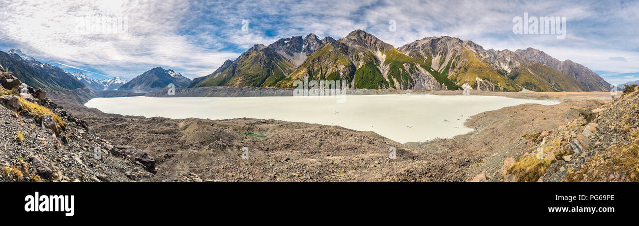 New Zealand, South Island, panoramic view of Tasman Valley with Aoraki Mount Cook and Tasman Lake - Stock Image