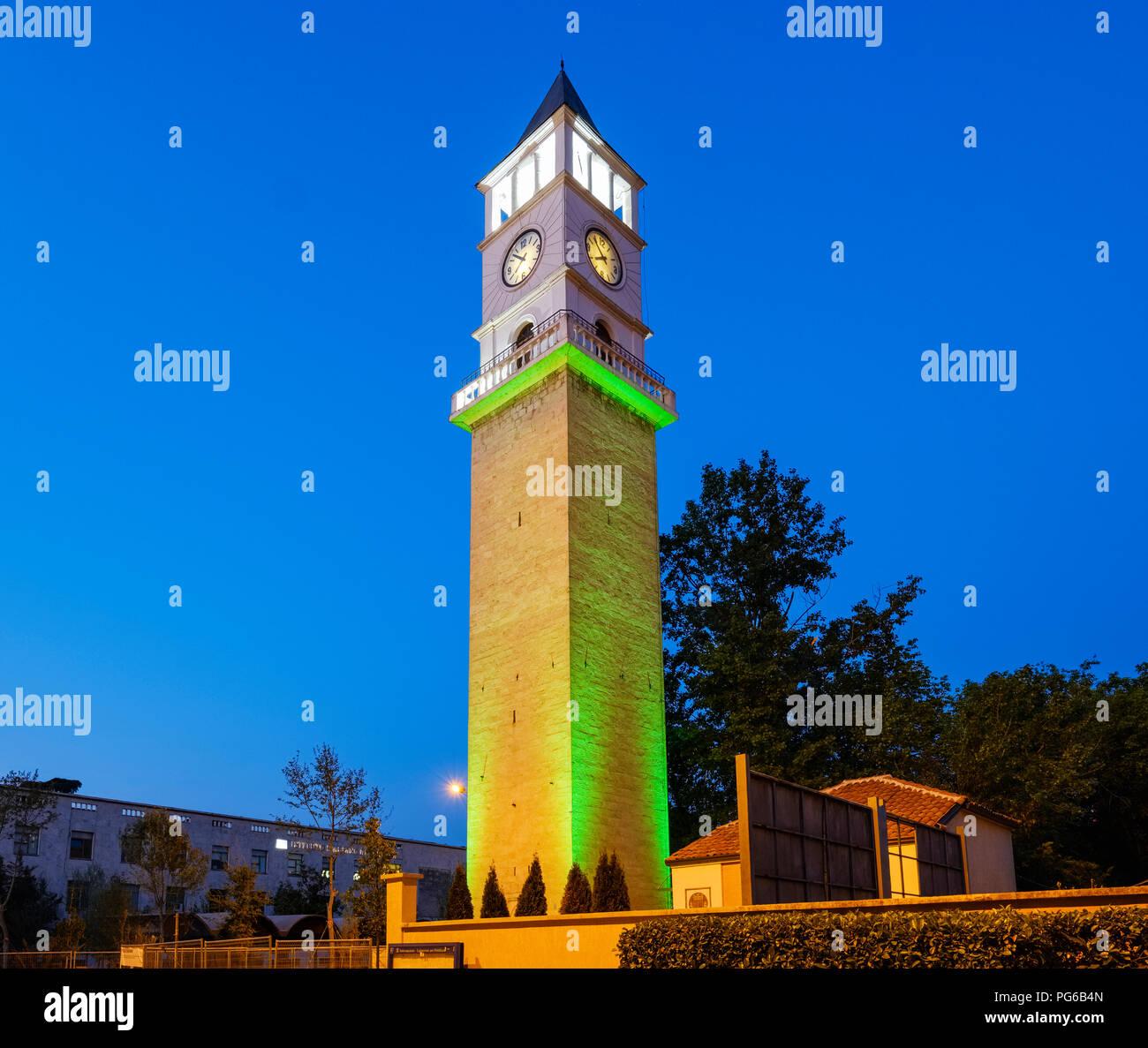 Albania, Tirana, Clocktower of Tirana at blue hour Stock Photo