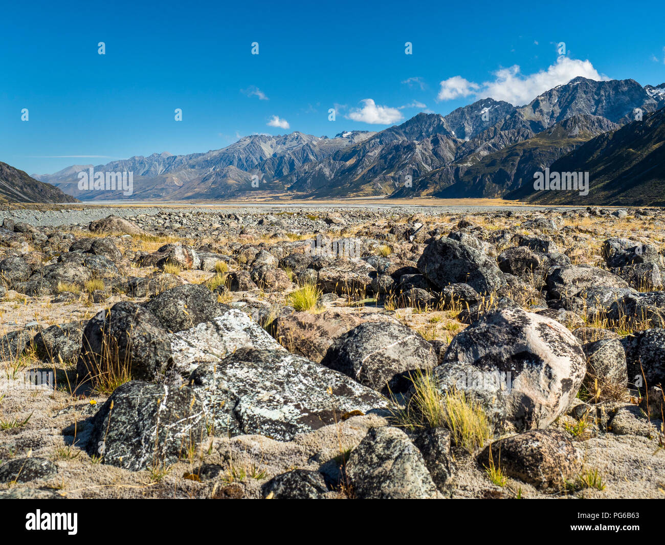 New Zealand, South Island, view to Tasman Valley at Mount Cook National Park - Stock Image