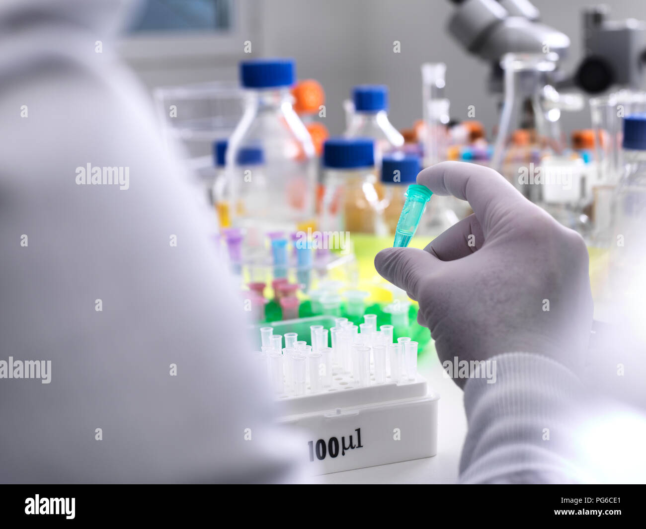 Biotechnology Research, Scientist viewing specimens in a vial during an experiment in the laboratory - Stock Image