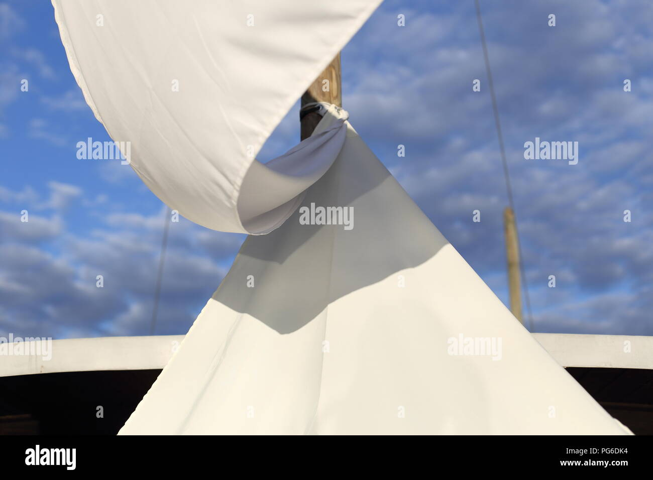 A White awning for sun protection - Stock Image