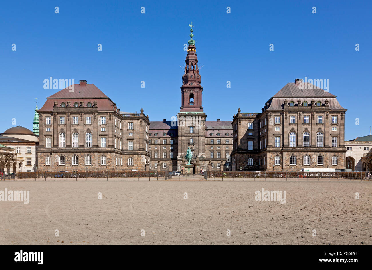 Christiansborg Castle seen from the Riding Grounds, Copenhagen, Denmark Stock Photo