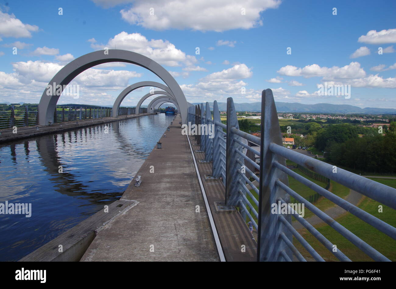 Falkirk Wheel. Union Canal. John o' groats (Duncansby head) to lands end. End to end trail. Highlands. Scotland. UK - Stock Image