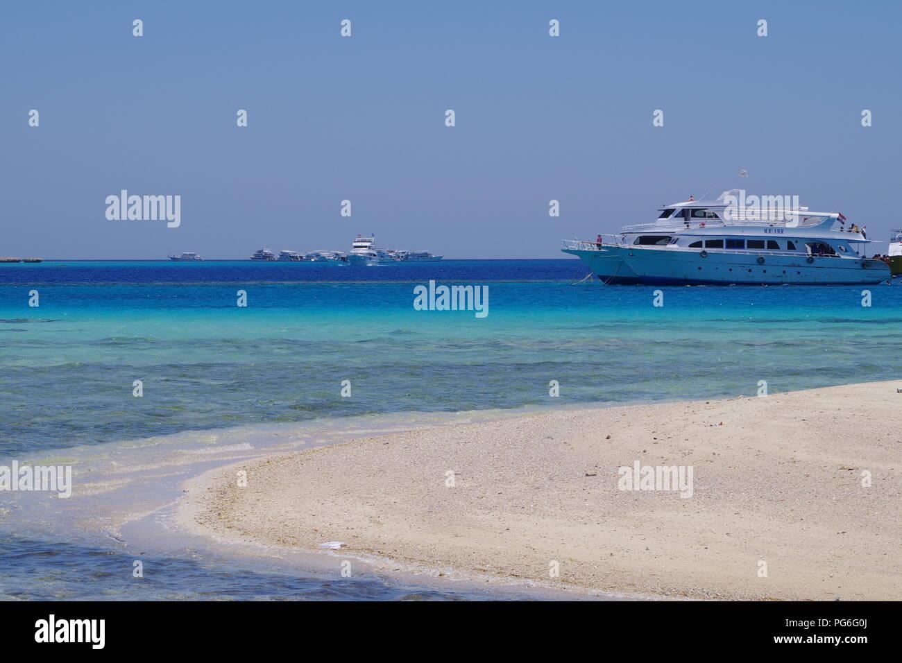 Pleasure cruisers off Mahmya, Giftun Island on the Red Sea , Egypt - Stock Image