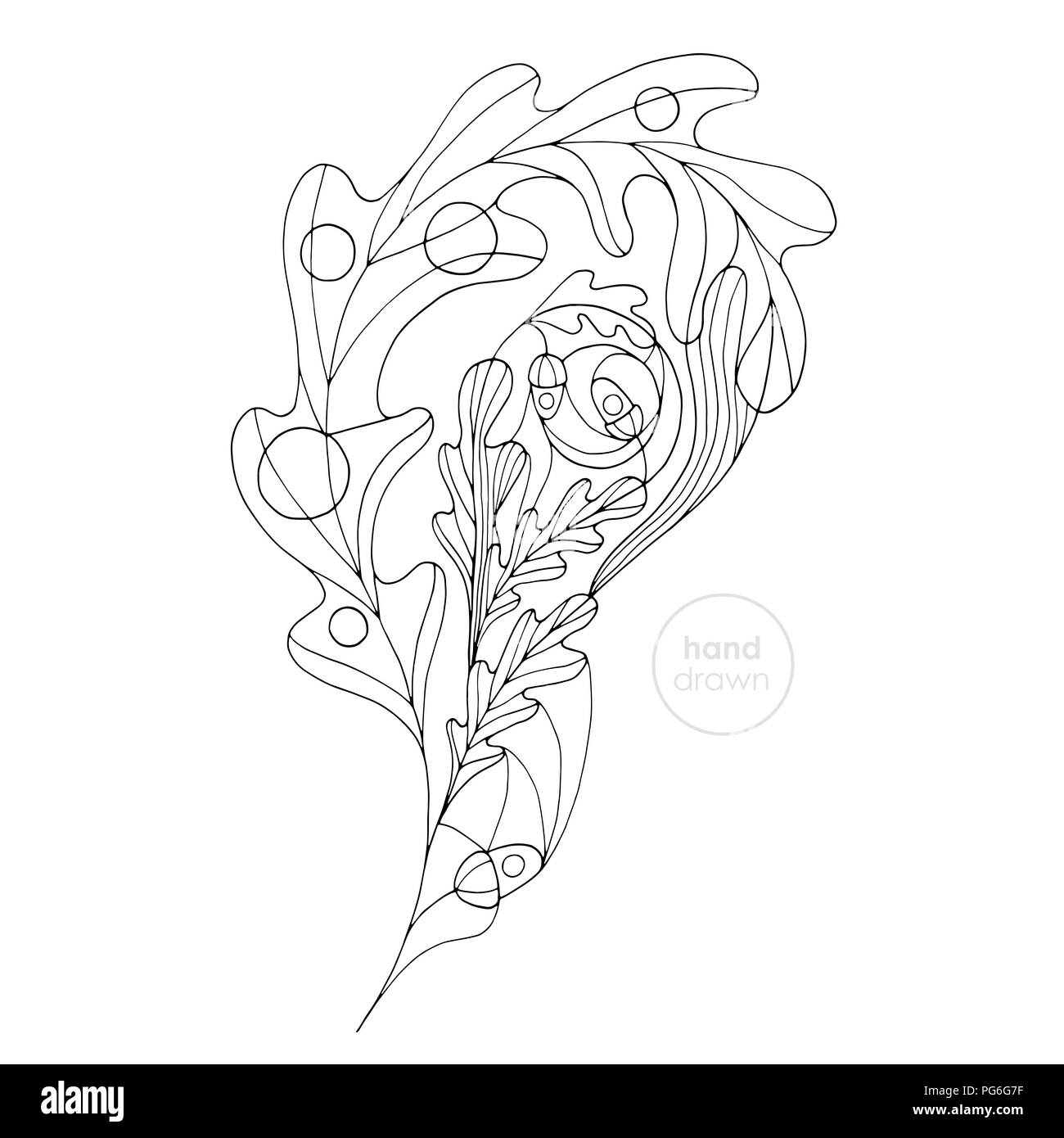 Hand drawn oak leaf vector coloring book. Abstract autumn paisley illustration. Leaves design element in modern style. - Stock Image