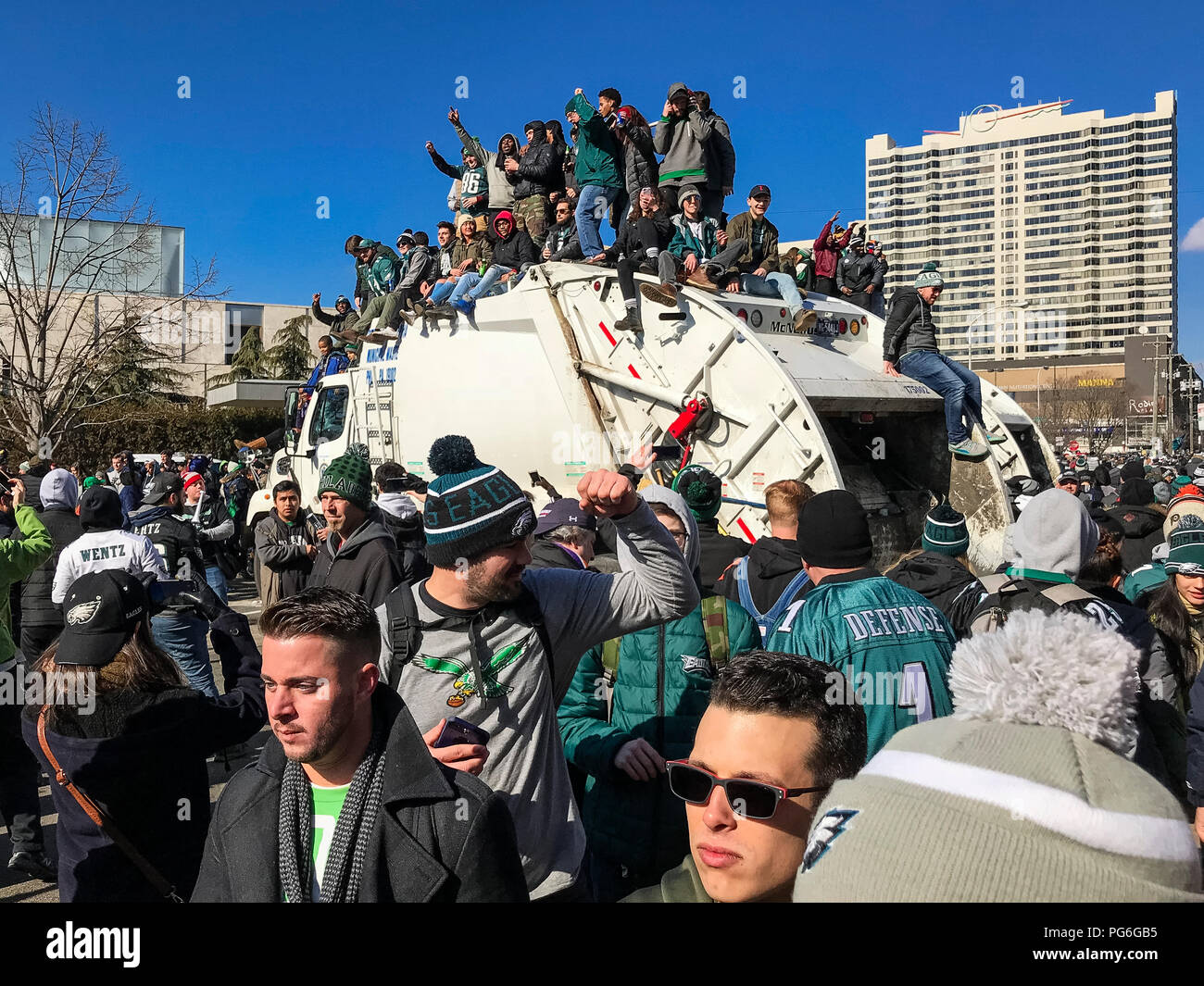 Eagles fans celebrate the 2018 Superbowl victory with a parade in Philadelphia, Pennsylvania, USA. - Stock Image