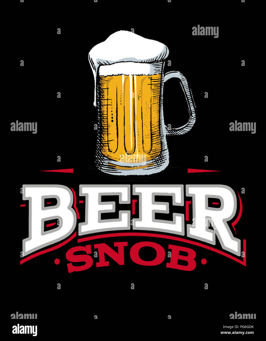 Beer snob illustration graphic of word art of a tall mug of beer on a black background.  Makes great wall art. - Stock Image