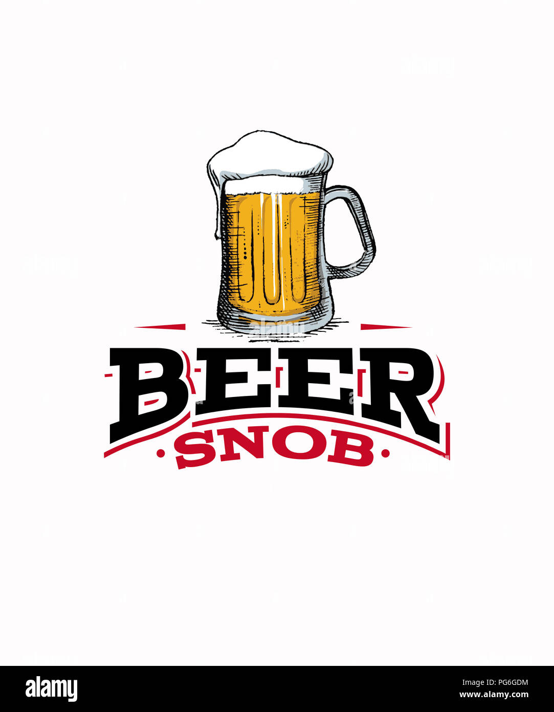 Beer snob graphic with a tall mug of beer on a white background illustration - Stock Image