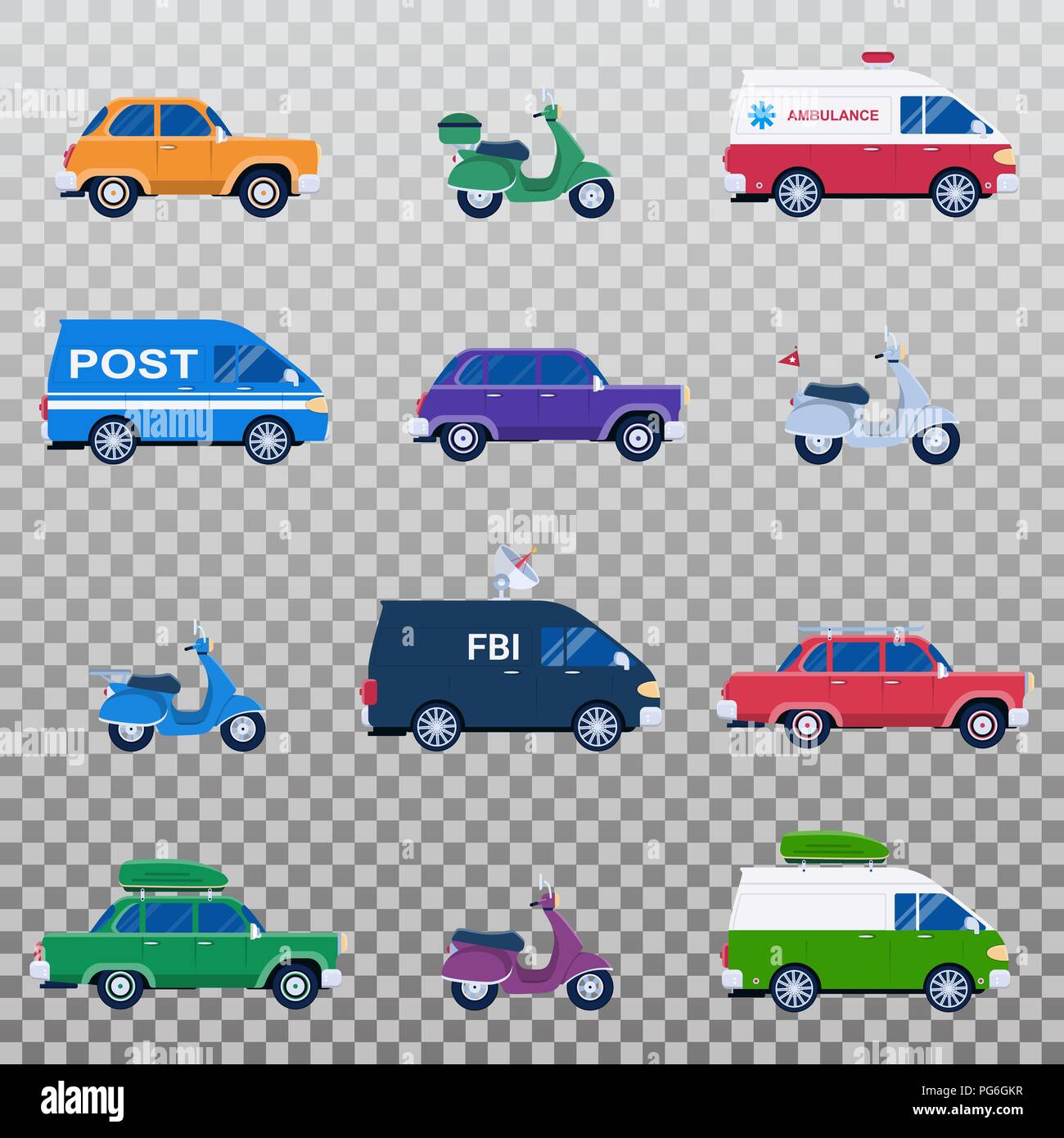 Isolated collection of different cars like ambulance and post minivan, fbi automobile and classic family sedan, motorcycles or gas minibikes assortment for traveling and vacation, eps 10 - Stock Image