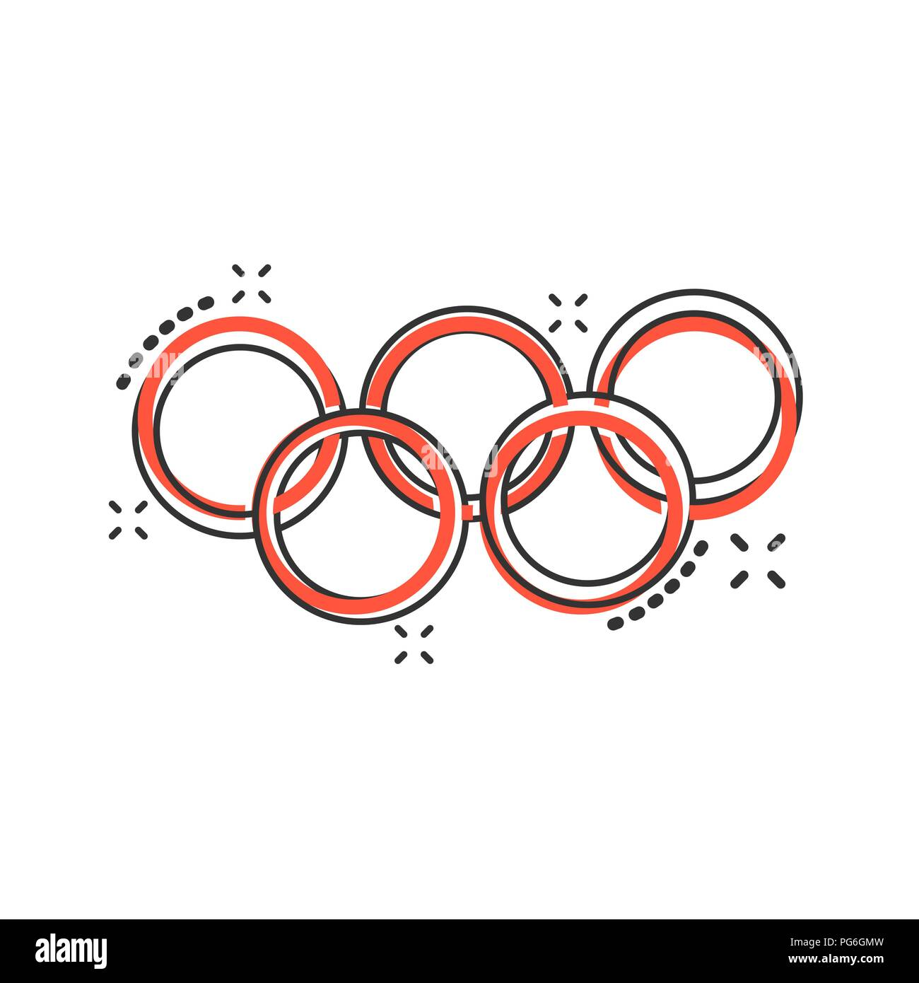 Vector cartoon olympic games rings icon in comic style. Olympiad illustration pictogram. Olympic business splash effect concept. - Stock Vector