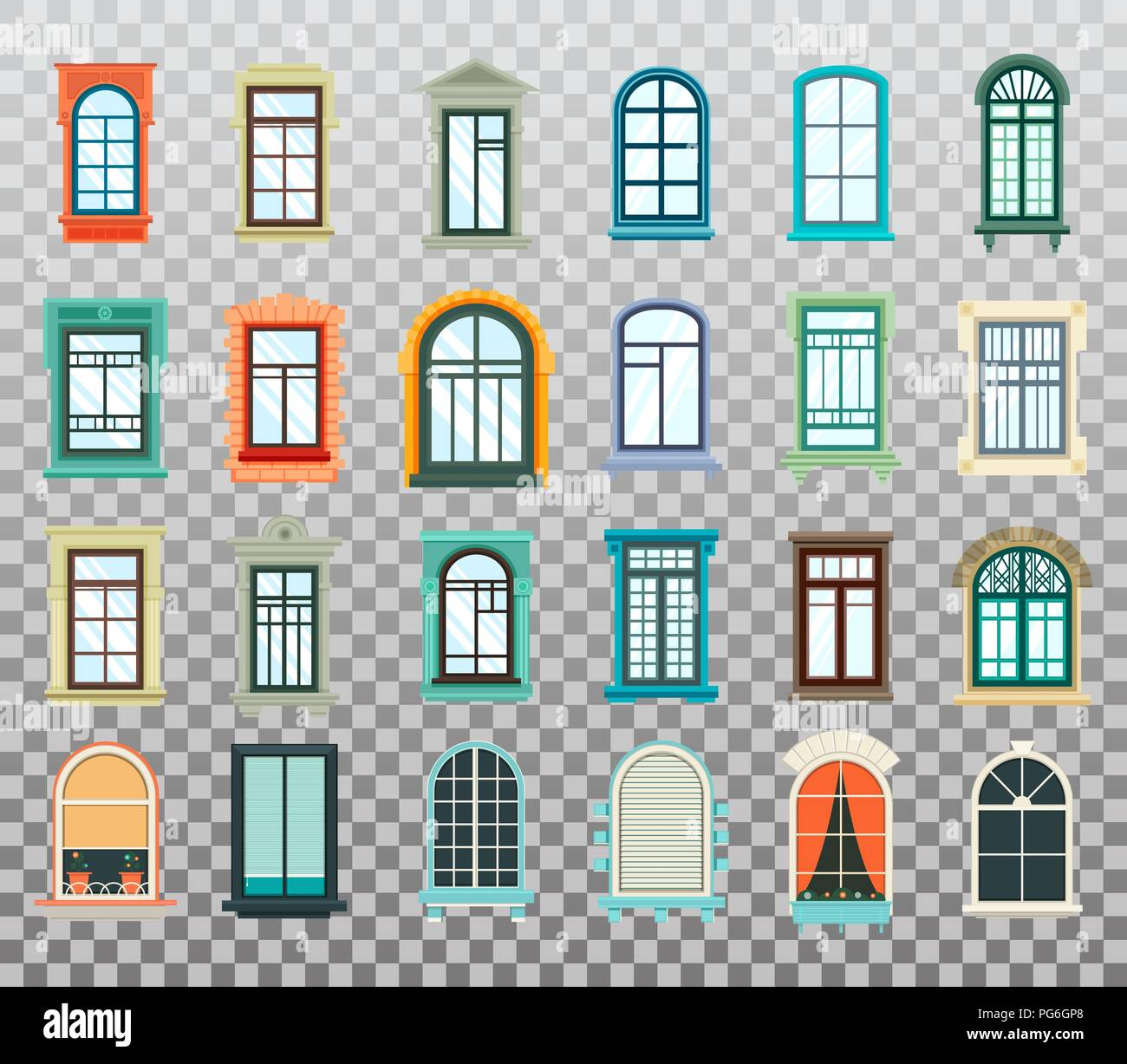 Retro Wood Or Wooden Window Frames View Isolated On House Wall Detailed Plastic Window With Curtains Or Pot Isolated Architecture Design Outdoor Or Exterior View Building And Home Theme Stock Vector Image