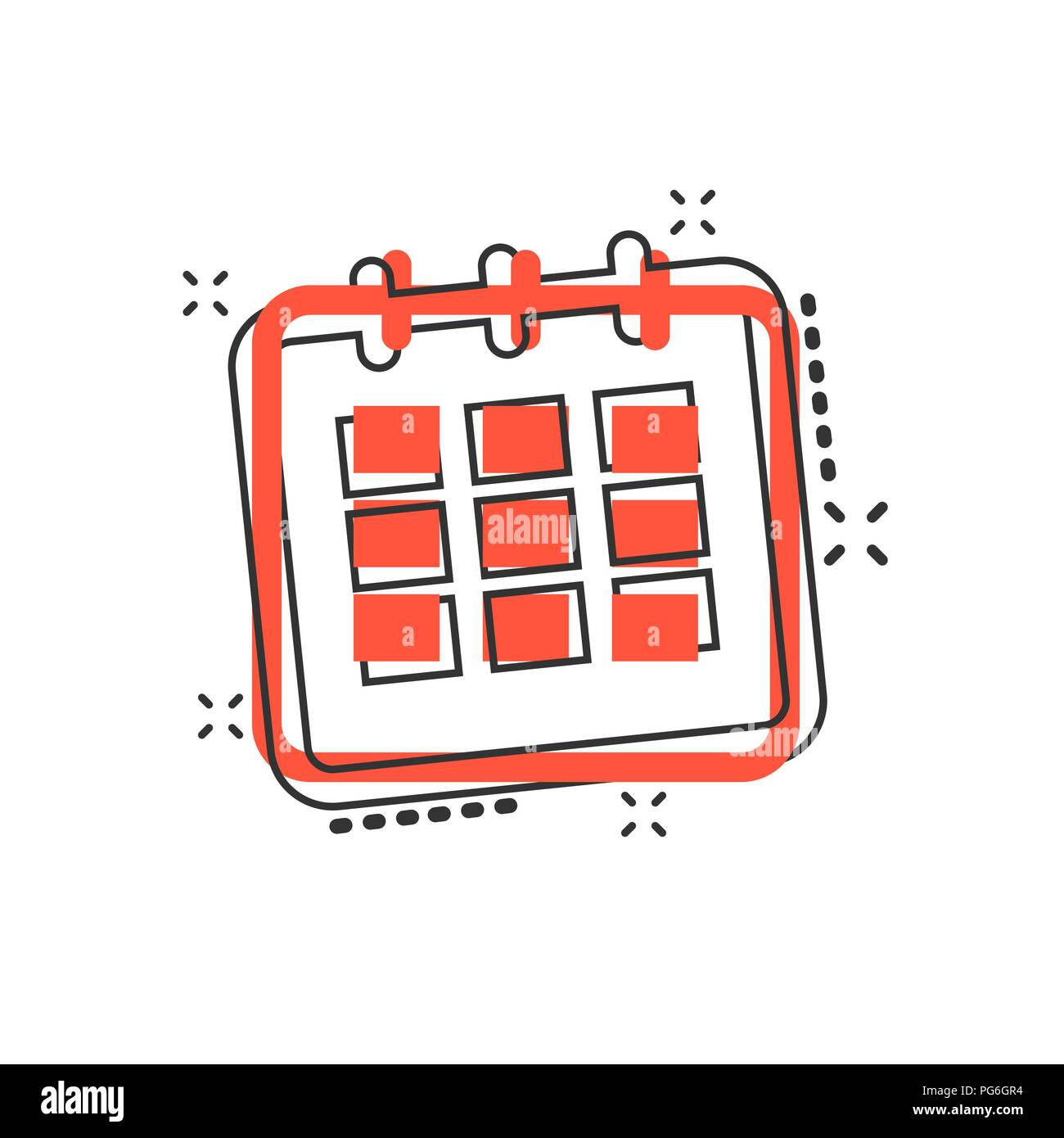 Illustration Calendrier.Vector Cartoon Calendar Agenda Icon In Comic Style Reminder