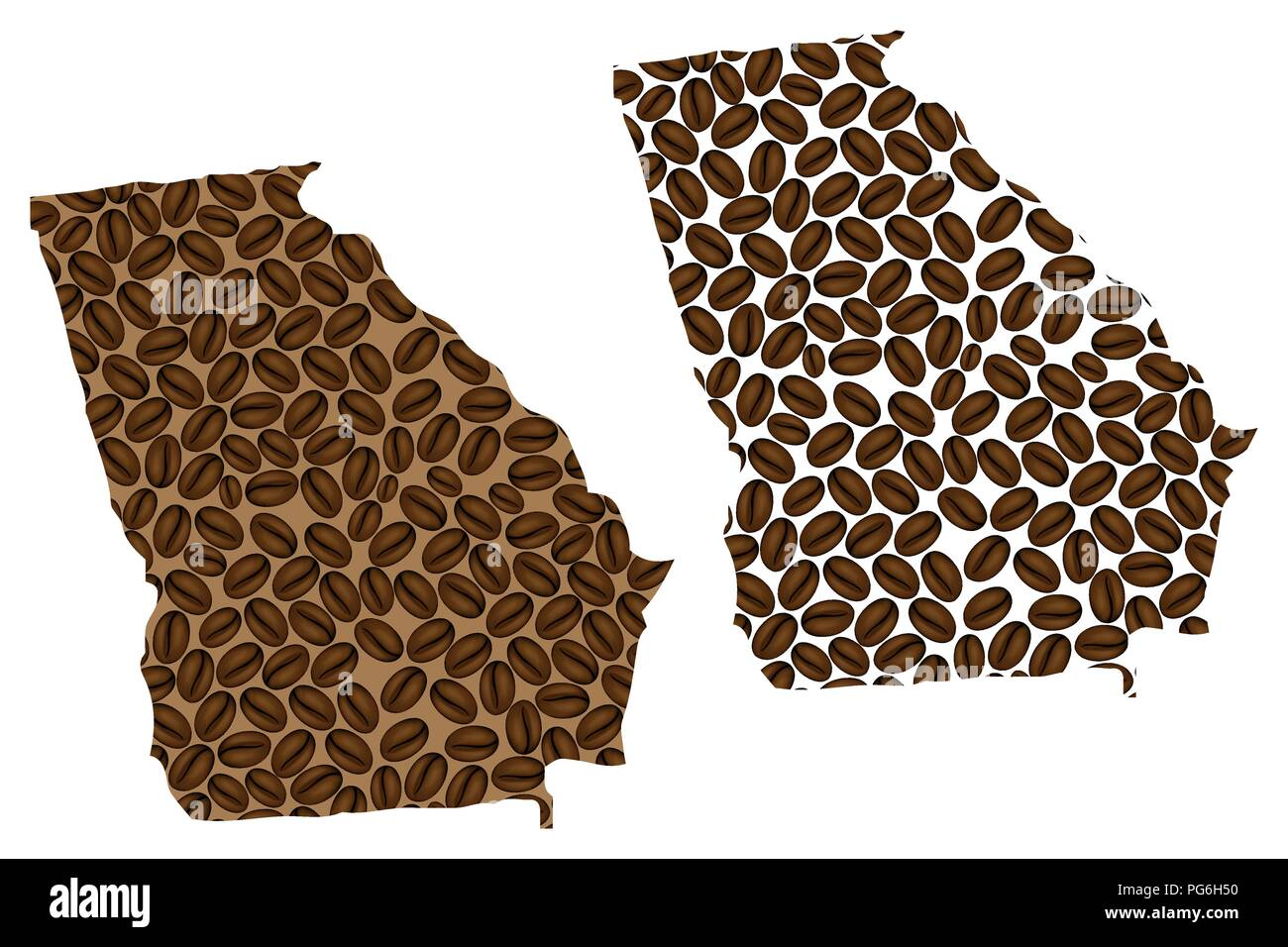 Georgia (United States of America) -  map of coffee bean, Georgia (U.S. state) map made of coffee beans, - Stock Vector