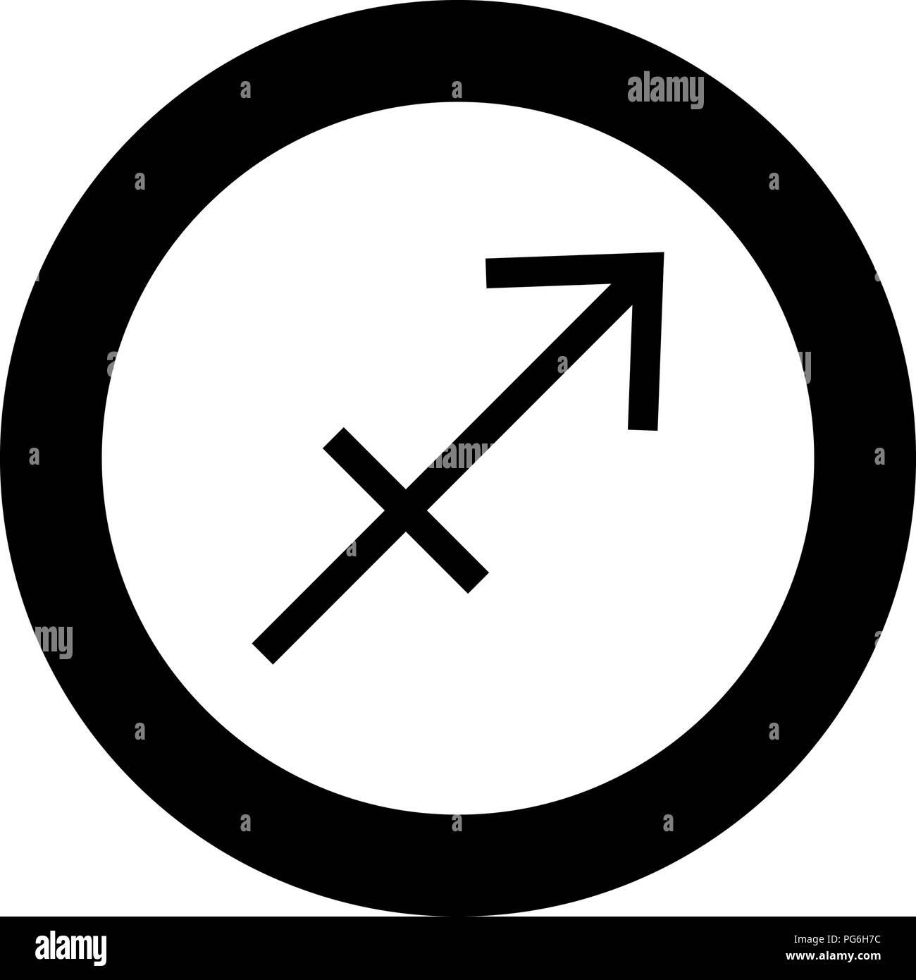 Sagittarius symbol zodiac icon black color in round circle vector I Stock Vector
