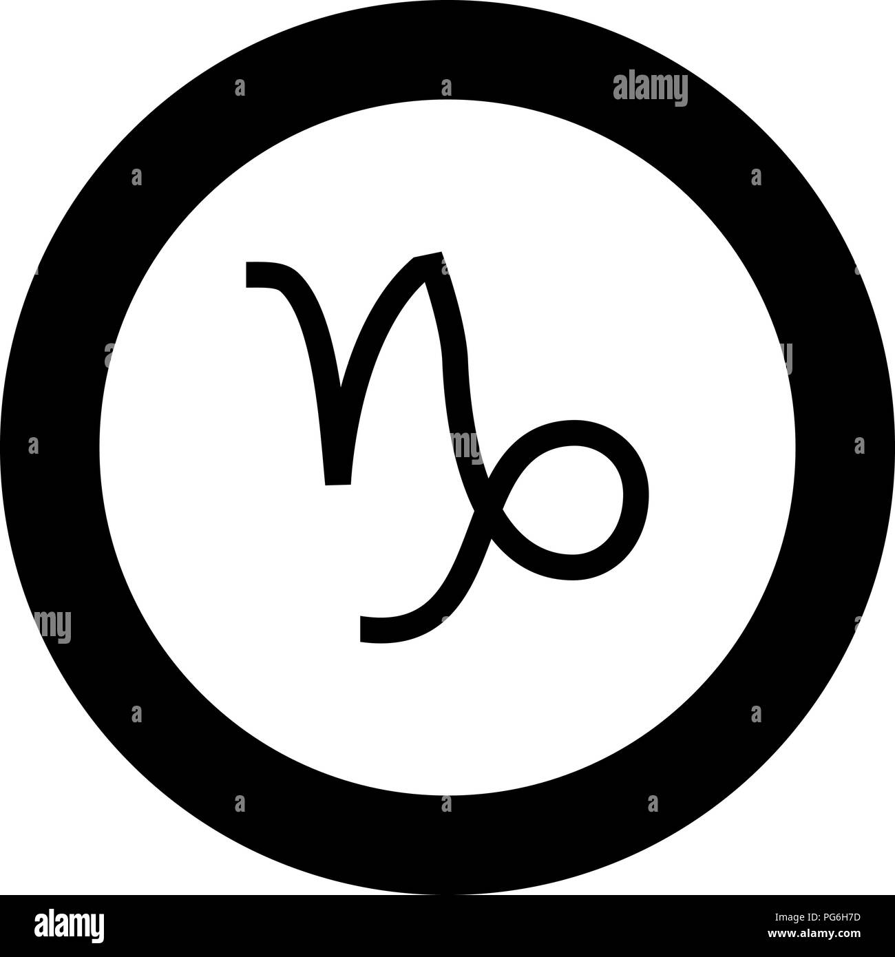 Capricorn symbol zodiac icon black color in round circle vector I Stock Vector