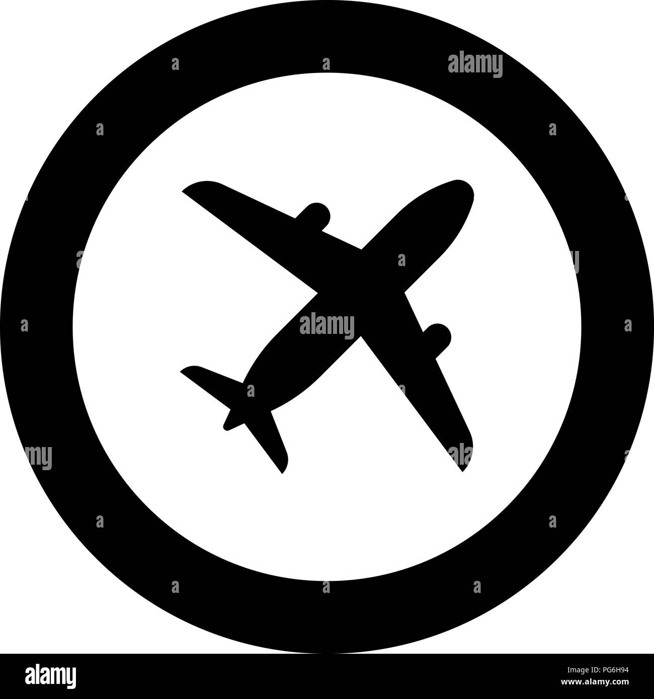 Airplane icon black color in round circle vector I - Stock Image