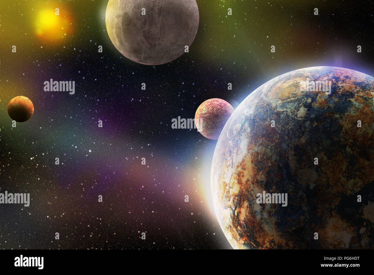 deep outer space with planets in galaxy system with solar sun and stars 3d illustration, fantasy or science fiction book cover or wallpaper background - Stock Image