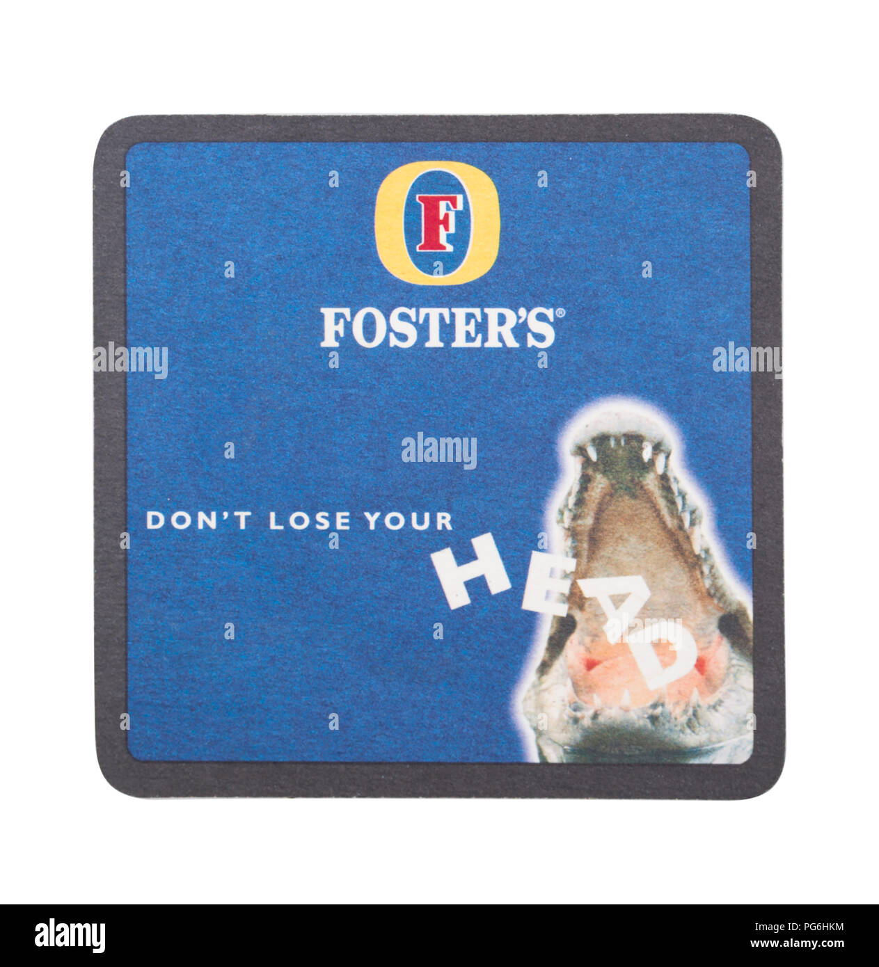 LONDON, UK - AUGUST 22, 2018: Foster's paper beer beermat coaster isolated on white background. - Stock Image