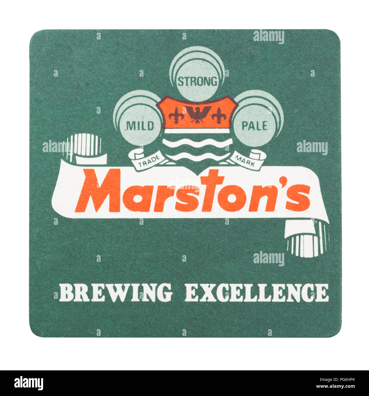 LONDON, UK - AUGUST 22, 2018: Marston's paper beer beermat coaster isolated on white background. - Stock Image