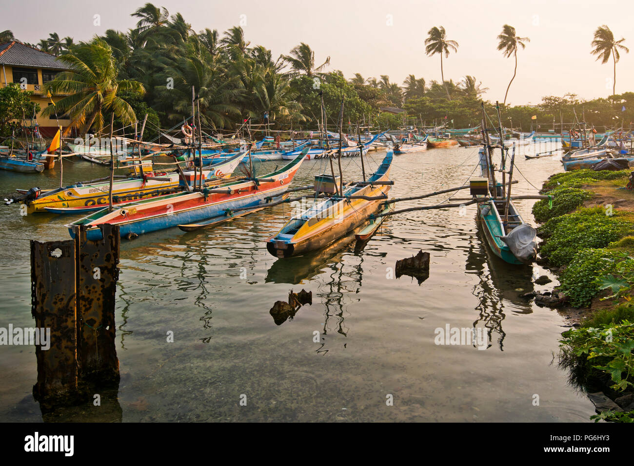 Horizontal view of fishing boats moored in Dodanduwa, Sri Lanka. Stock Photo
