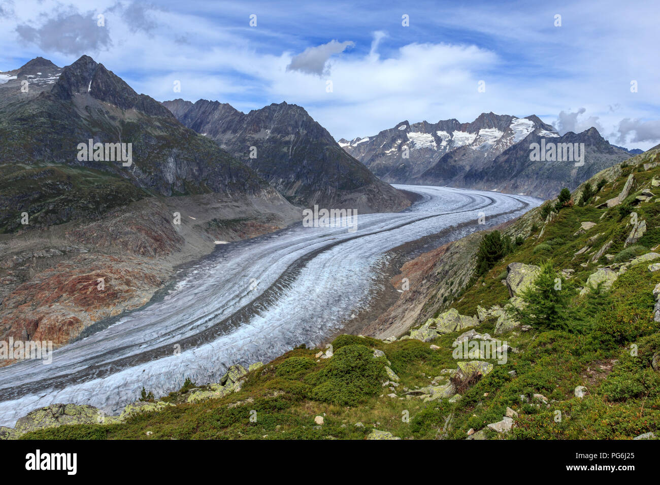 Aletsch glacier in Switzerland Stock Photo