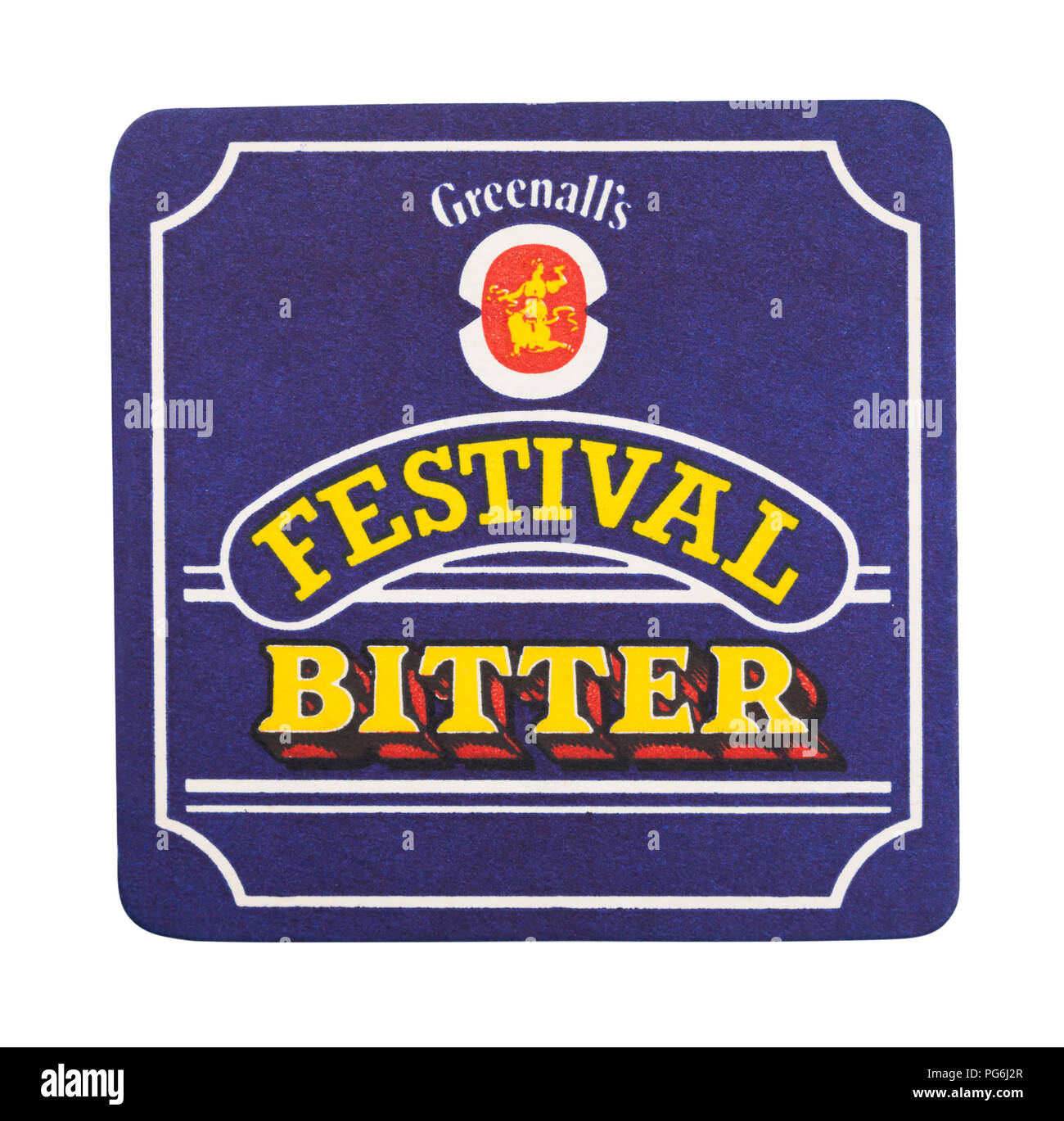 LONDON, UK - AUGUST 22, 2018: Greenall's Festival Bitter beer beermat coaster isolated on white background. - Stock Image