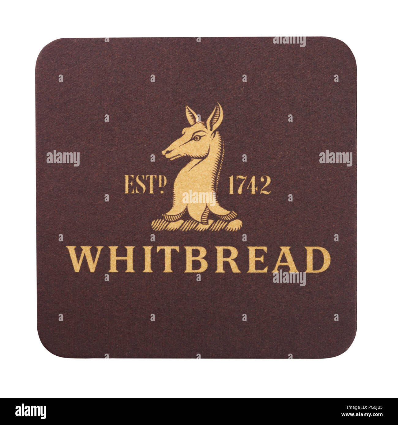 LONDON, UK - AUGUST 22, 2018: Whitbread paper beer beermat coaster isolated on white background. - Stock Image