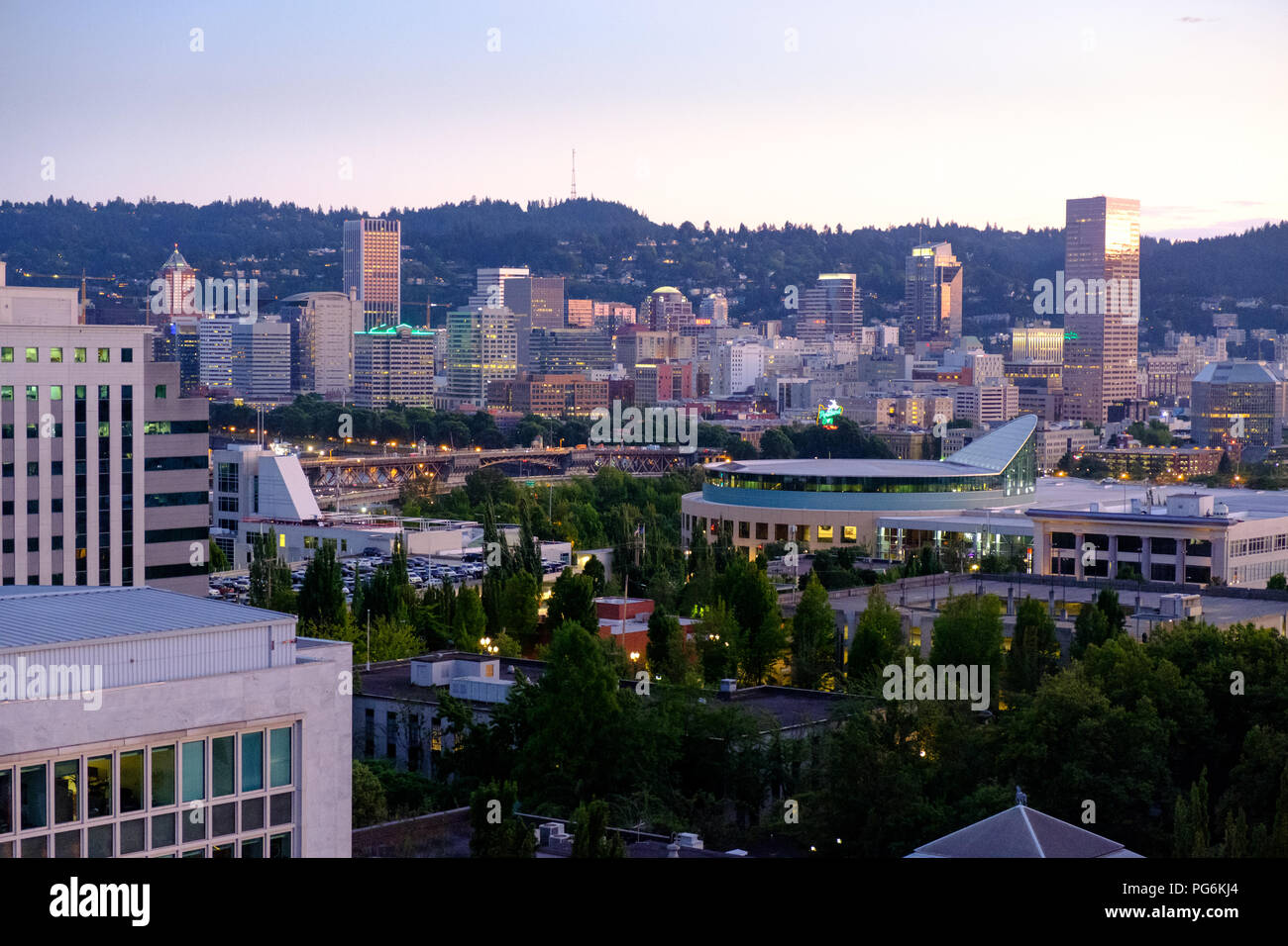 Night Time Skyline Of Downtown Portland Oregon Usa