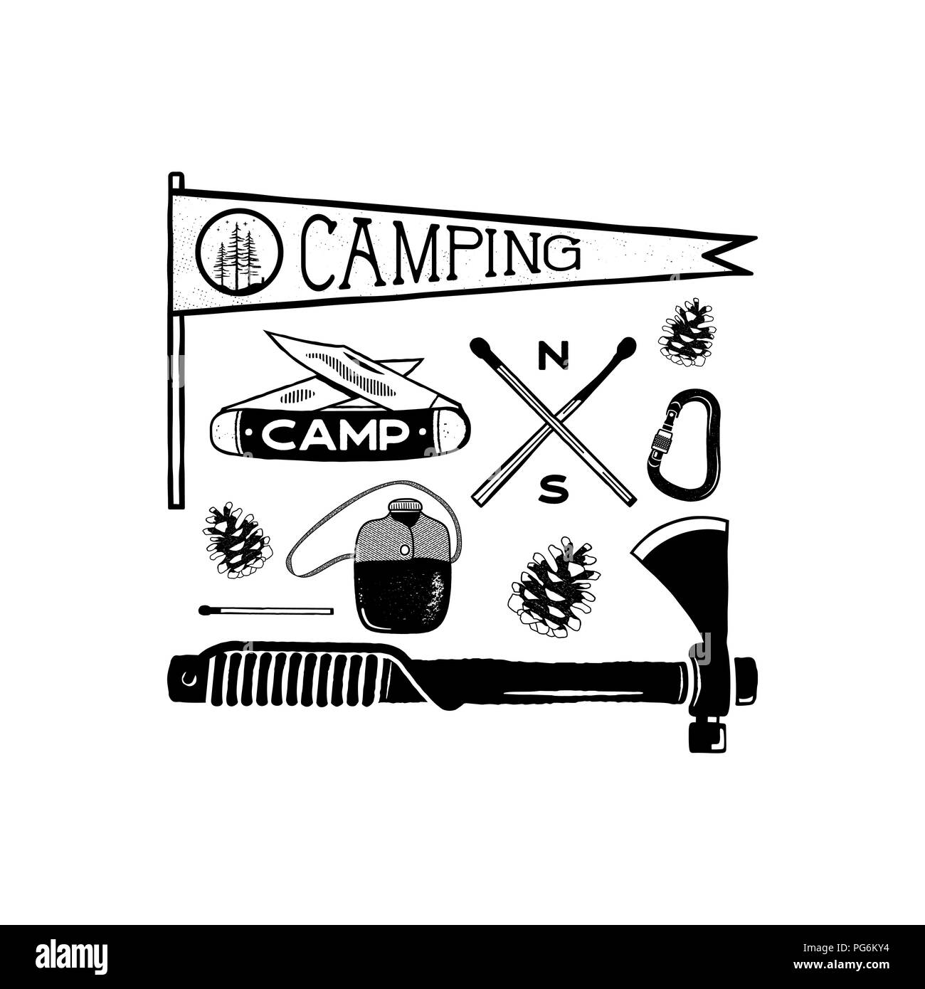 Vintage hand drawn camping adventure shapes. Hiking symbols - pennant, knife, matches, axe and others. Retro monochrome design. Can be used for t shirts, prints. Stock vector isolated on white - Stock Vector