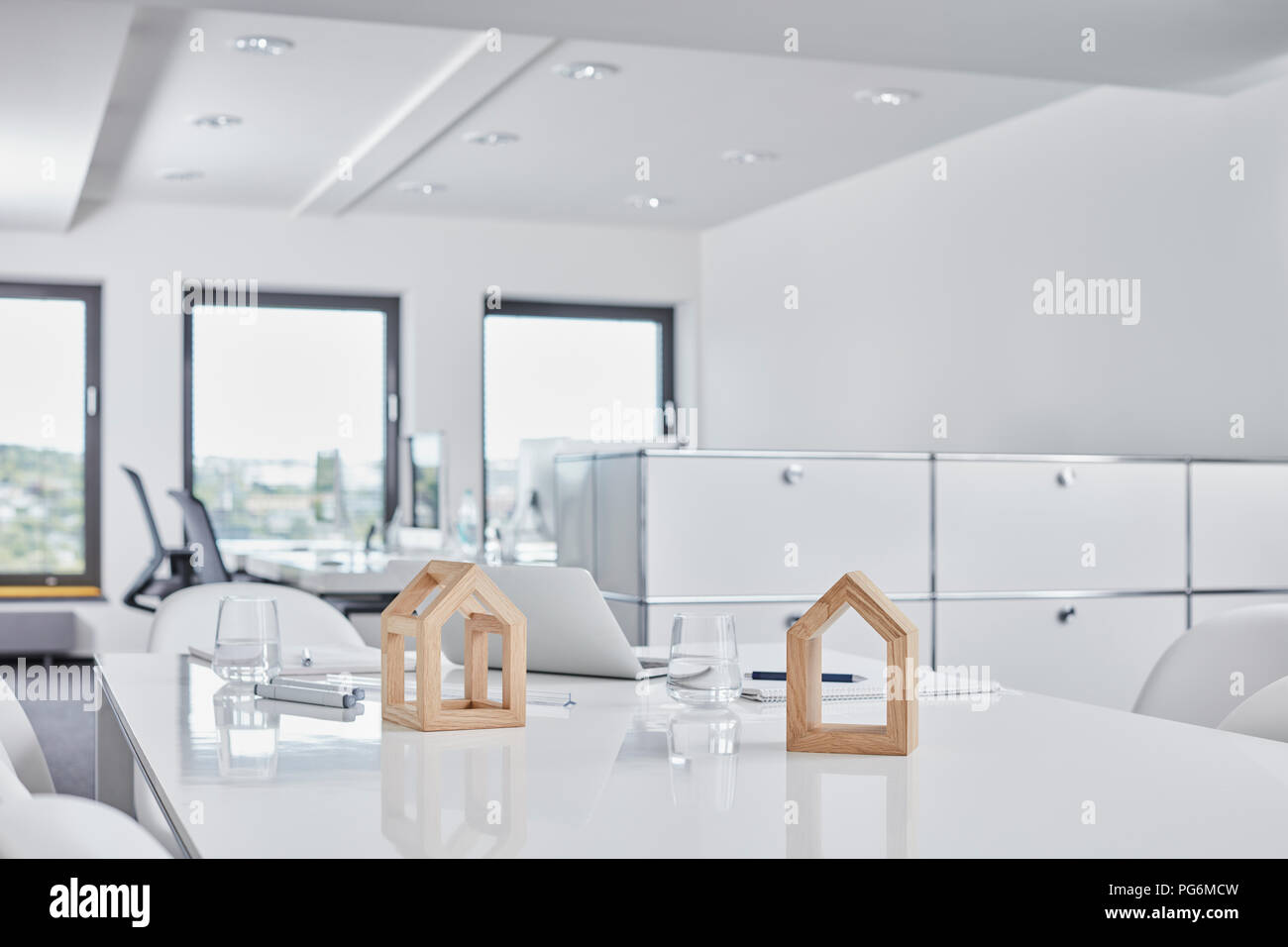 Architectural models on desk in office - Stock Image