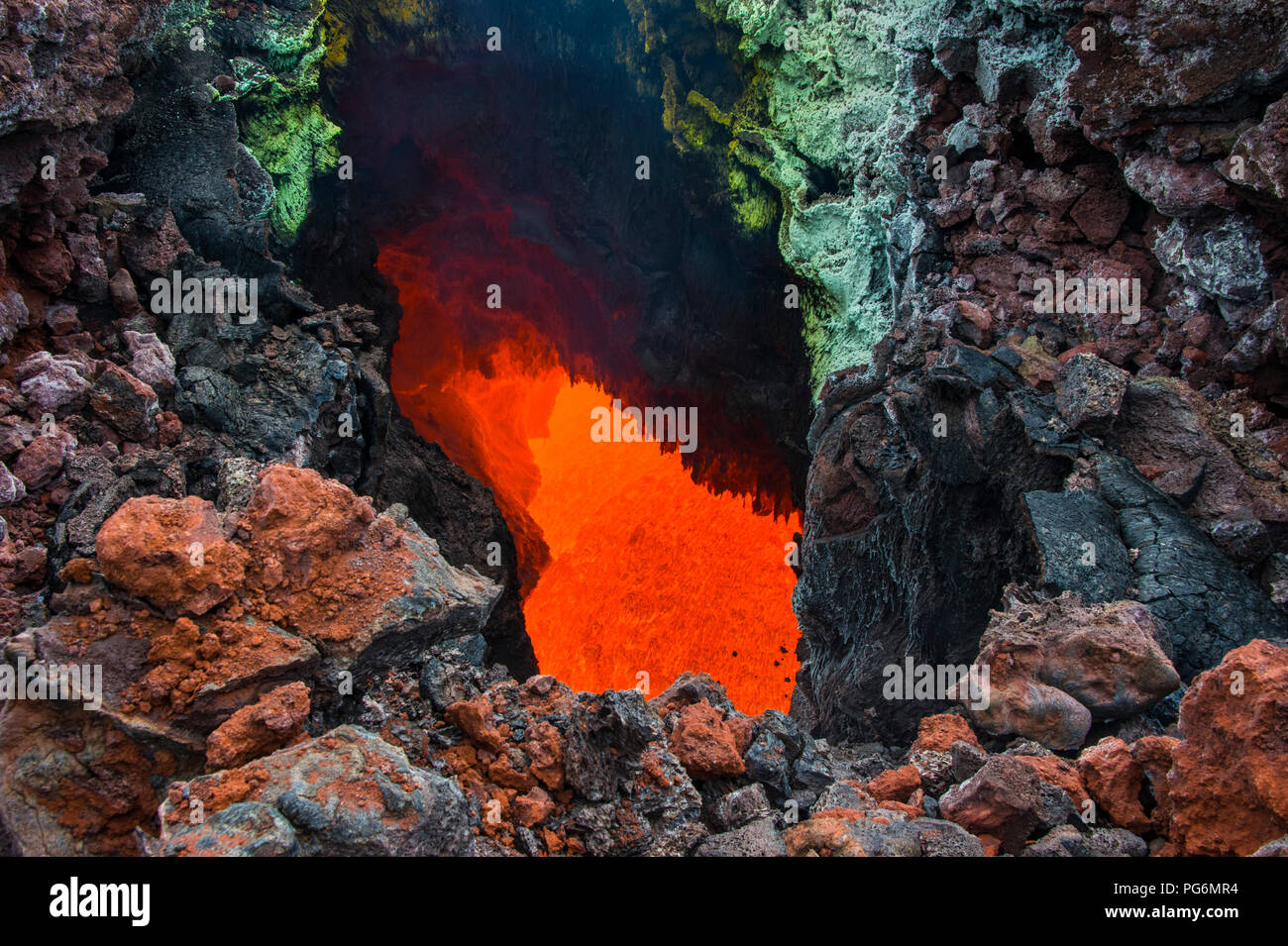Active magma in a stream below the Tolbachik volcano, Kamchatka, Russia - Stock Image