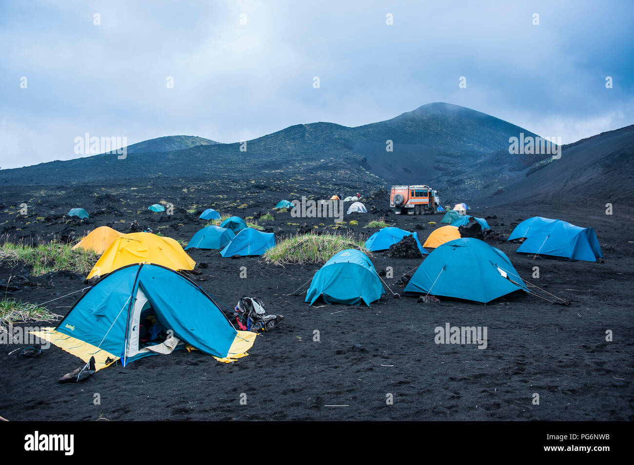 Tourist campsite at the Tolbachik volcano, Kamchatka, Russia - Stock Image
