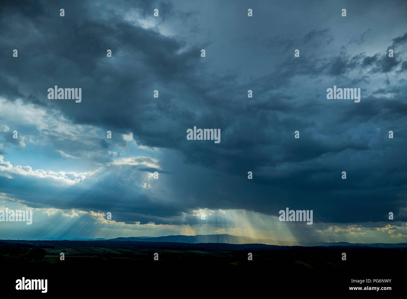 Germany, dark and dramatic cloudy mood during thunderstorm Stock Photo