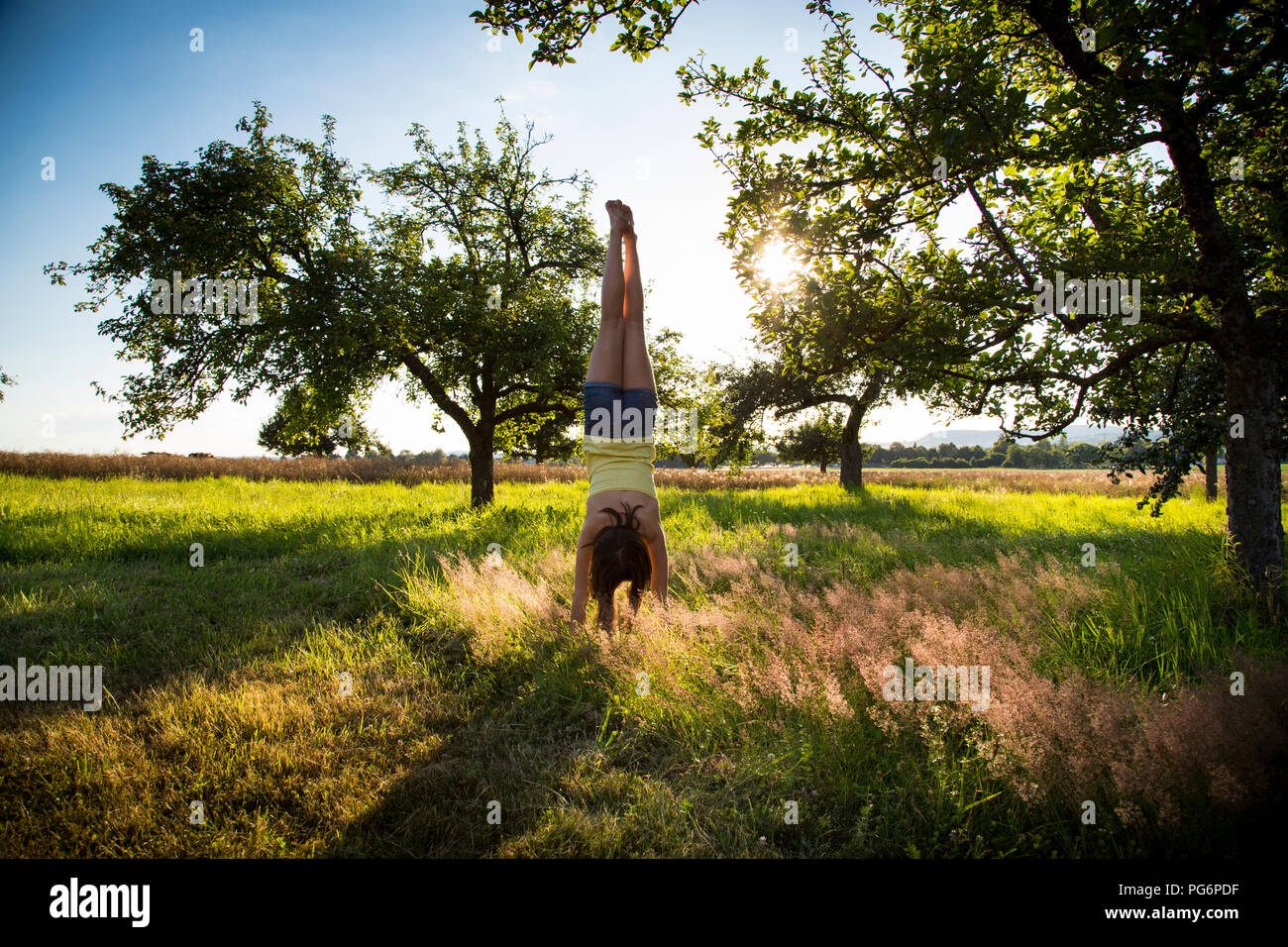 Young girl doing handstand on meadow at summer evening - Stock Image