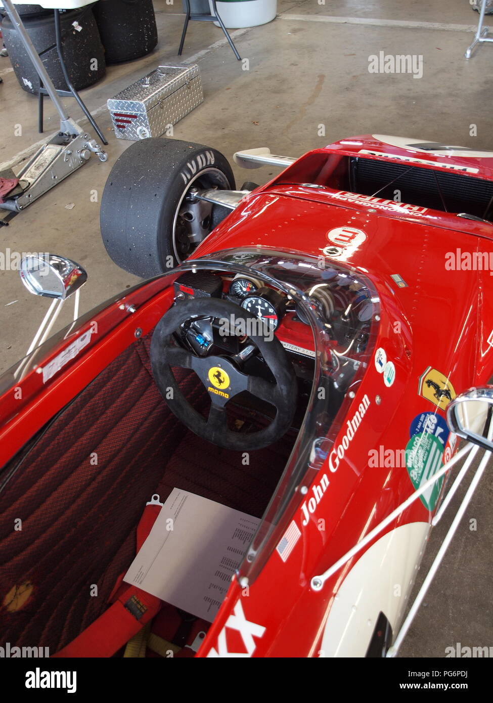 Restored Ferrari formula 1 race car once raced by Jacky Ickx noted French driver. This car was participating in the historic races at Watkins Glen, NY - Stock Image